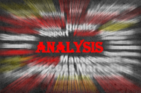 Analysis concept with other related words on retro background photo