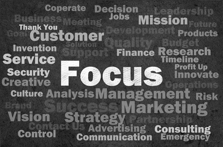 customer focus: Focus concept with other related words on retro background