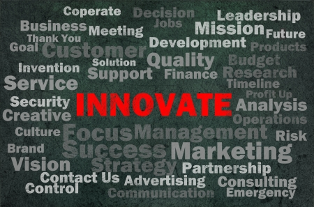 Innovate concept with other related words on retro background photo