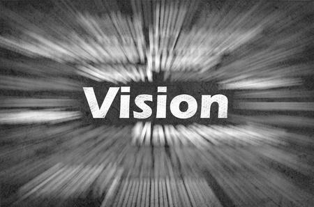 vision future: Visie woord met bewegende stralen op retro achtergrond