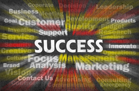 Success concept with other related words on retro blackboard Stock Photo - 12615592