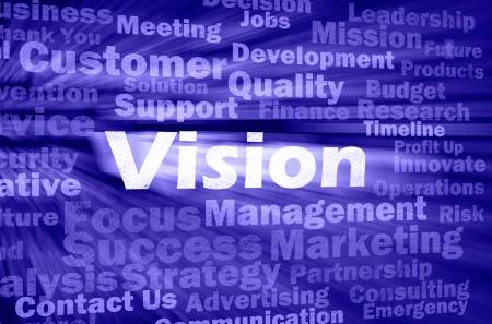 vision futuro: Visi�n concepto con otras palabras relacionadas en el fondo retro