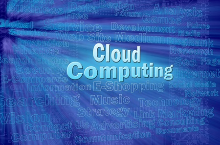 Cloud computing concept with internet related words photo