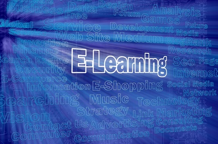E-learning concept with other internet related words photo