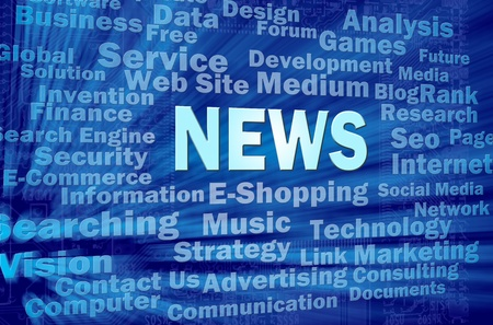 News concept in blue virtual space with internet related words  Stock Photo - 12615551