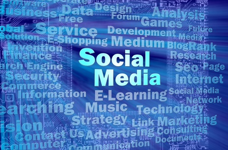 Social media concept in blue virtual space with internet related words  Stock Photo - 12615556