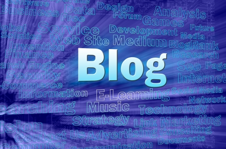 Blog concept in blue virtual space with internet related words  photo