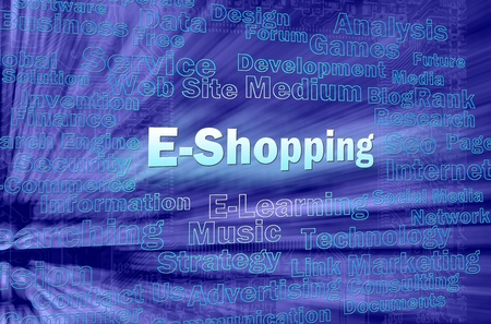 E-shopping concept in blue virtual space with internet related words  photo