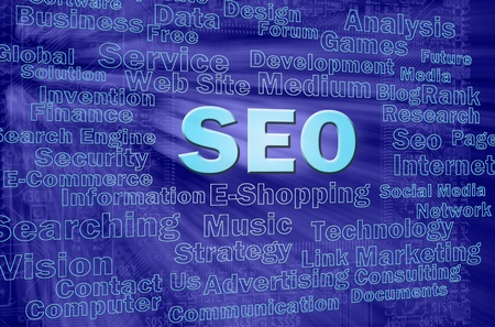 SEO concept in blue virtual space with internet related words  Stock Photo - 12615580