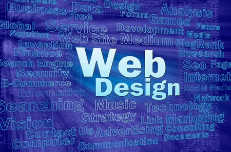 Web design concept in blue virtual space with internet related words  photo