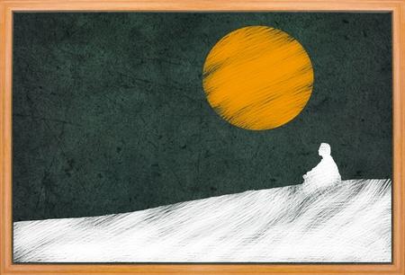 meditation pray religion: meditation under sunset, Buddhist activity, drawing on retro blackboard Stock Photo