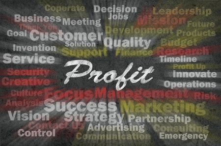 company growth: Profit word with business related words on retro background