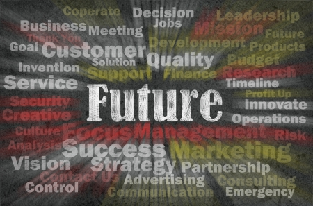 future advertising: Future concept with business related words on retro background Stock Photo