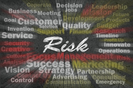 risk analysis: Risk concept with business related words on retro background