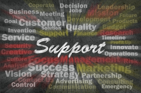 Support word with business related words on retro background photo