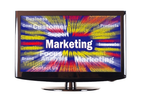 Marketing word with colorful rays on screen photo
