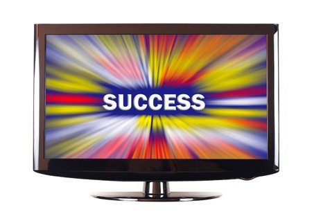 Success word with colorful rays show on screen photo