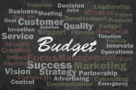Budget concept with business related words on retro background
