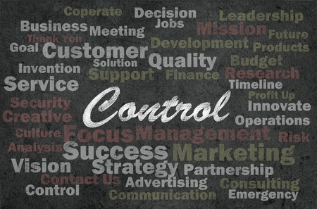 Control concept with business related words on retro background photo