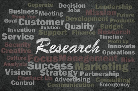 Research concept with business related words on retro background photo