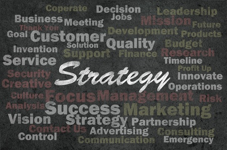 Strategy concept with business related words on retro background photo
