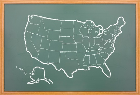 America Map Draw On Grunge Blackboard With Wooden Frame Stock Photo