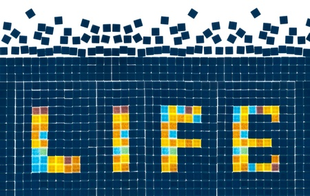 Shiny life word on wall, real mosaic created by photographer. Stock Photo - 12859393