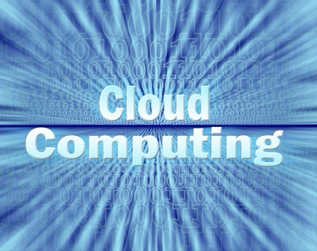 Cloud computing concept in virtual information stream photo