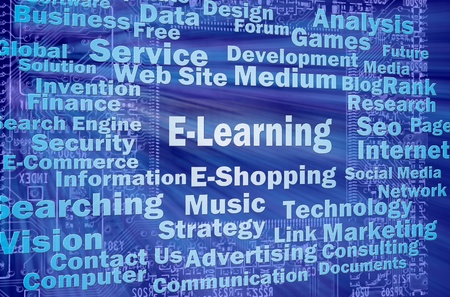 information medium: E-learning concept with other internet related words