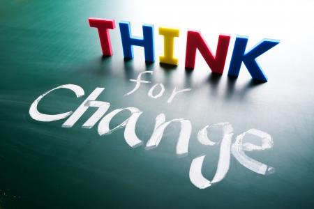 increase success: Think for change concept, words on blackboard Stock Photo