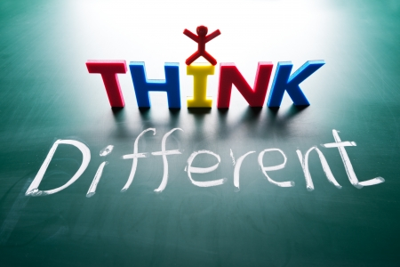 I think different concept, words on blackboard Stock Photo - 16437158