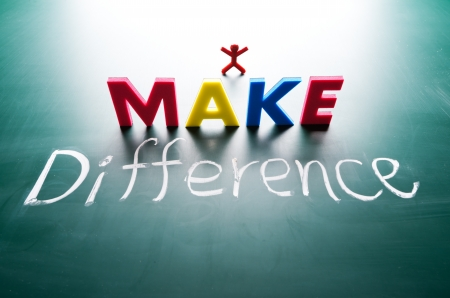 I make difference concept, words on blackboard Stock Photo - 16437154