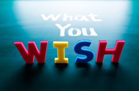 What you wish concept, words on blackboard Stock Photo - 16696968