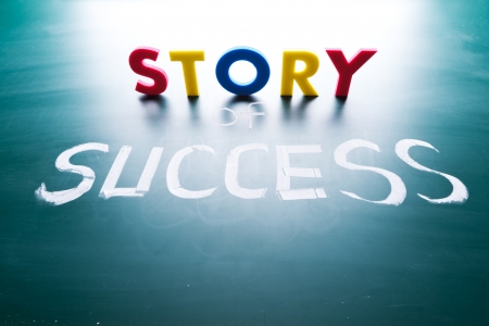Story of success concept, words on blackboard photo