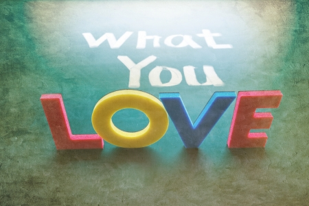 What you love concept, words on blackboard photo