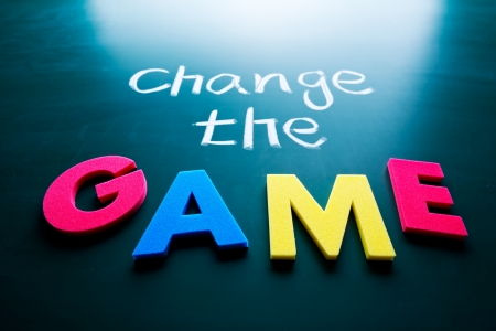 Change the game concept, words on blackboard Stock Photo - 17200804