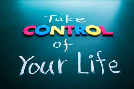 Take control of your life concept, colorful words on blackboard Stock Photo - 17478316