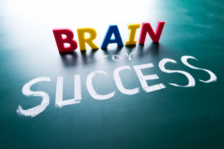 Brain for success concept, words on blackboard Stock Photo - 17478319