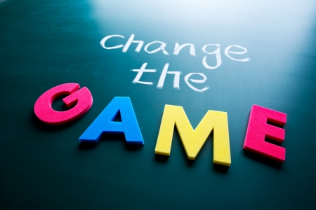 Change the game concept, words on blackboard Stock Photo - 17478337