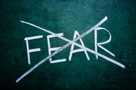 no fear: No fear concept, word on grungy blackboard Stock Photo