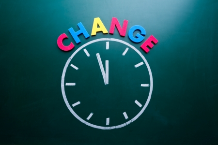 time change: Time to change concept, color word and clock on blackboard Stock Photo