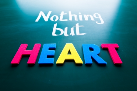 Nothing but heart, conceptual words on blackboard photo