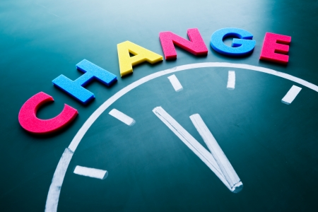 Time to change concept, color word and clock on blackboard Stock Photo - 18222008