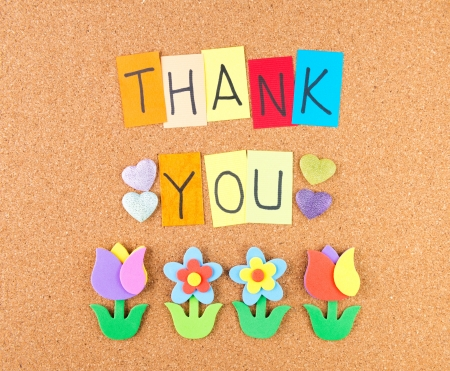 many thanks: Thank you, conceptual words with decoration on cork