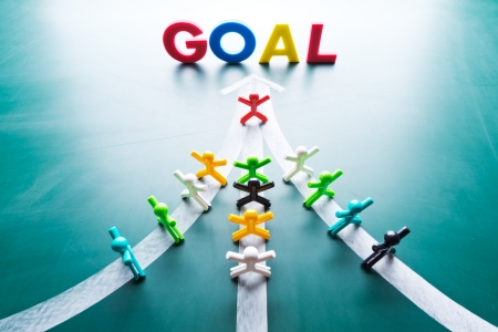 group goals: Goal and Teamwork concept, group of people with the same goal Stock Photo