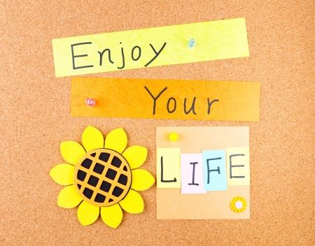 Enjoy your life, conceptual words with decoration on cork Stock Photo - 18539520