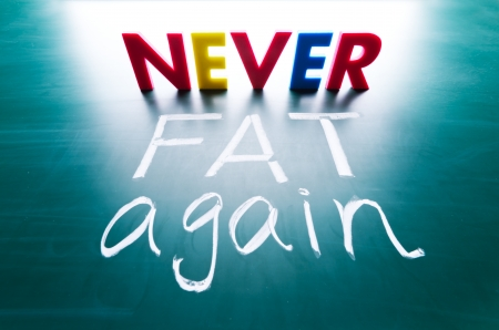 Never fat again concept, colorful words on blackboard photo