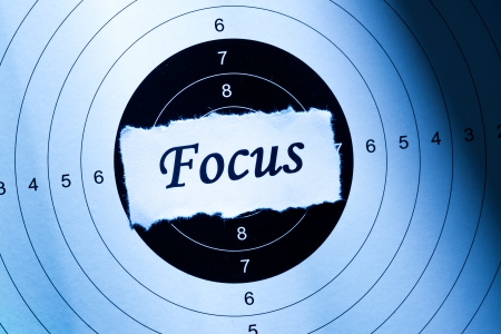 focus shot: Focus concept, word on target paper Stock Photo