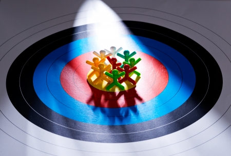 target marketing: Target the your customers, People on target paper Stock Photo