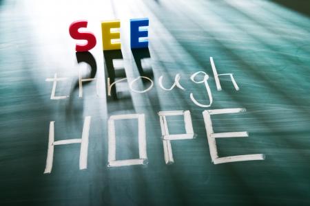 hoopt: Zie door hoop, conceptuele woorden op het bord